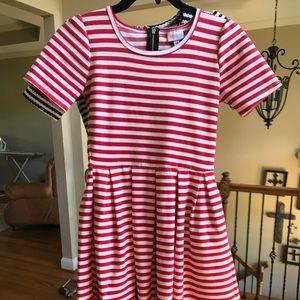 LuLaRoe Amelia Dress XS 2 4 6 red white EUC